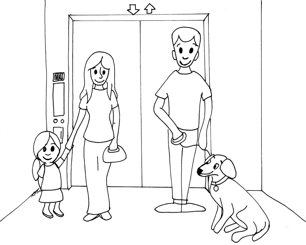 When riding in the elevator, again have your dog sit between your legs and the wall, away from the door, to keep the rest of the space available for other passengers.