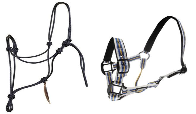 Figure 1: A – Pat Parelli's rope halter; B – Roma Coordinating Headcollar