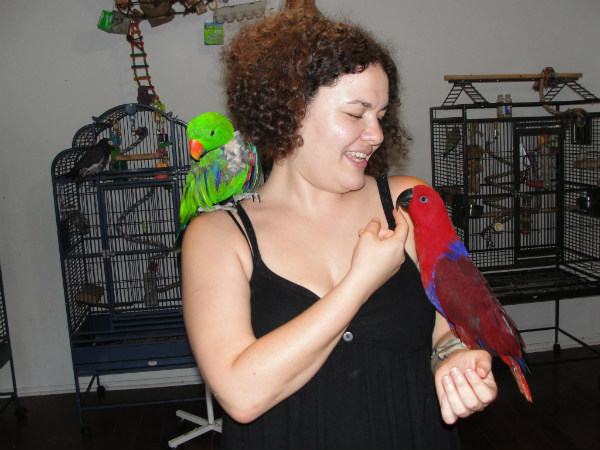 The author with two parrots