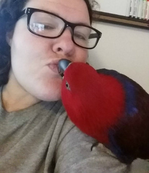 Cah'ya the parrot on author's shoulder