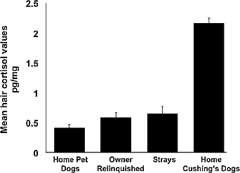 Fig 7. Mean hair cortisol levels for dogs in the two conditions of Experiment 3. There was no difference between owner-relinquished and stray dogs. Healthy pet dogs living in a home and Cushing's dogs are included for visual comparison. Vertical lines indicate standard errors of the means. Owner-relinquished, n = 10; Stray, n = 12; Pet dogs living in a home, n = 4; Cushing's dogs, n = 3 (Willen et al. 2017).