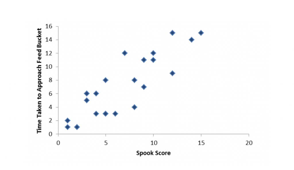 The correlation between spook behaviours and the time taken to return to the feed bucket.